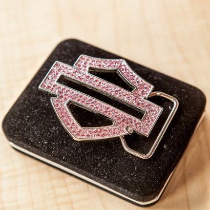 Harley-Davidson® Womens Belt Buckle Bar & Shield Bling Pink Stones