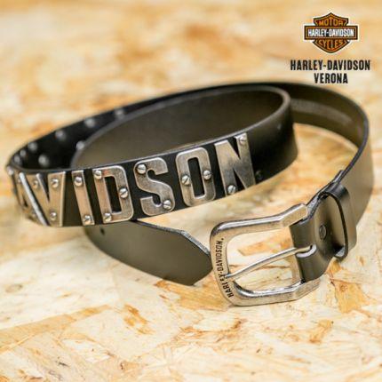 Harley-Davidson® Men's Belt, Metal H-D Font, Black Leather Belt