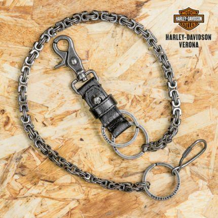 Harley-Davidson® Men's TNT Wallet Chain | Black Leather Extension