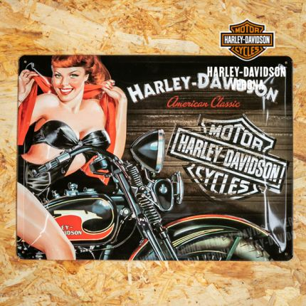 Insegna Metallica Harley-Davidson® Pin-up