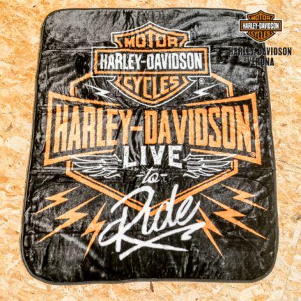 Harley-Davidson® Dedication Bar & Shield Raschel ®Throw Blanket