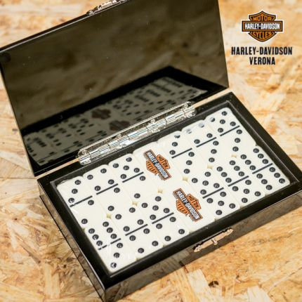 Harley-Davidson® Trademark B&S Oil Can Black Domino Set deluxe
