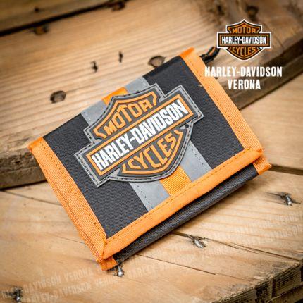 Porta foglio in tessuto Harley-Davidson® Reflective Bar & Shield Tri-Fold Velcro