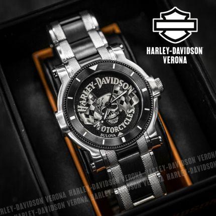 Orologio Harley-Davidson® Skull With Flag By Bulova