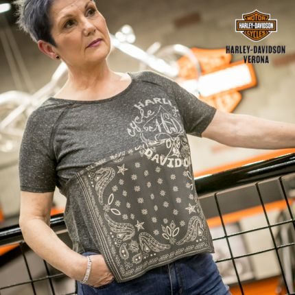 Harley-Davidson® Bandana Print Top, Grey
