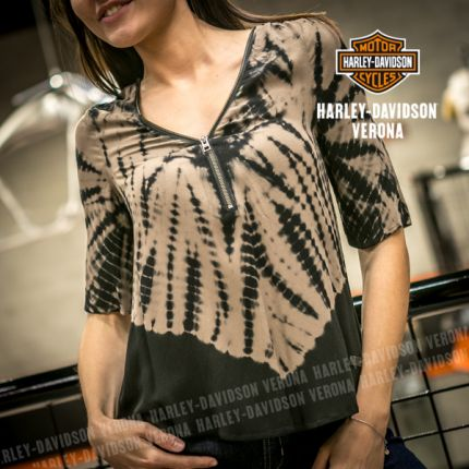 T-SHIRT MANICA 3/4 ZIPPER NECKLINE BATIK TOP