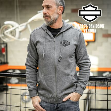 Felpa uomo Harley-Davidson® Zip Bar & Shield Grey
