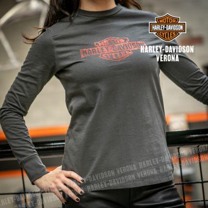 Maglia a maniche lunghe Harley-Davidson® Flocked Graphic Tee