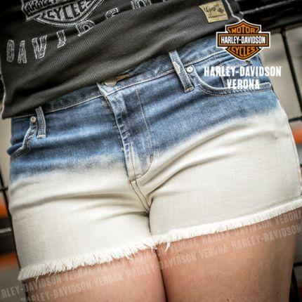 Harley-Davidson® Womens Indigo Dip-Dye Cut Off Blue Shorts