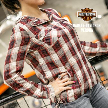 Camicia da Donna Harley-Davidson® D. DRAWSTRING METALLIC Plaid