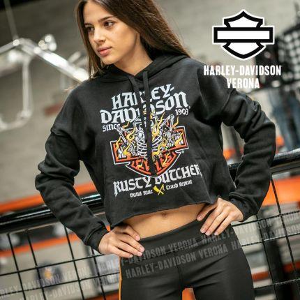 Felpa Harley-Davidson® Rusty Butcher Flames Cropped
