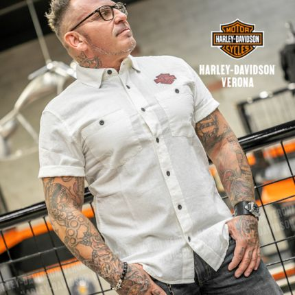 Camicia da Uomo Harley-Davidson® Cotton Linen, White