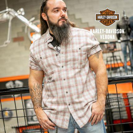 Camicia Harley-Davidson® Beige Plaid Woven