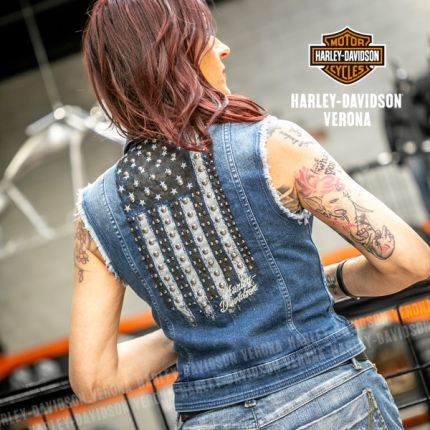 Gilet in Jeans Harley-Davidson® Flag Fashion