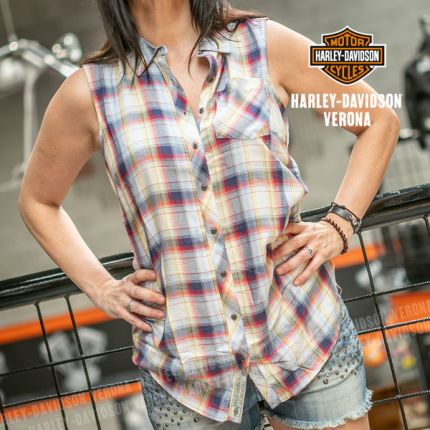 Camicia senza maniche da Donna Harley-Davidson® Plaid