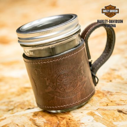 Mason Jar & Leather Holder