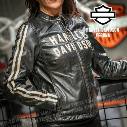 Giacca in Pelle Donna Harley-Davidson® Sleeve Stripe