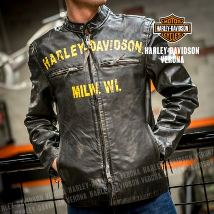 Giacca in Pelle Harley-Davidson® effetto ''Vintage'' Forge