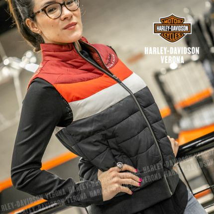 Giubbottino smanicato da Donna Harley-Davidson® Puffer Striped