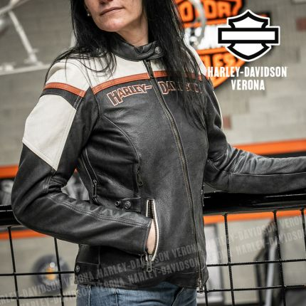 Giacca in Pelle Harley-Davidson® Triple Vent Miss Enthusiast