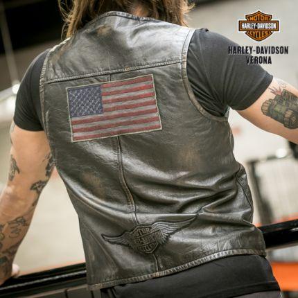 Gilet pelle Harley-Davidson® patch americana
