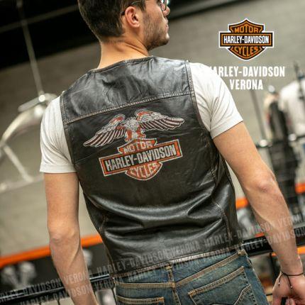 Gilet smanicato in Pelle Harley-Davidson® Org. Logo