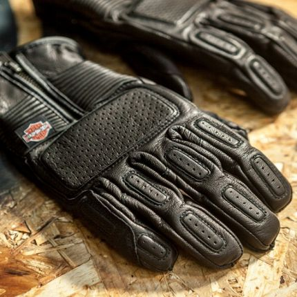 Harley-Davidson® GLOVE-F/F,MILER,LTHR,BLK