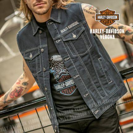 Gilet da Uomo Harley-Davidson® Upright Eagle Denim