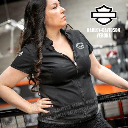 Camicia da Donna Harley-Davidson® Skull Zip Logo