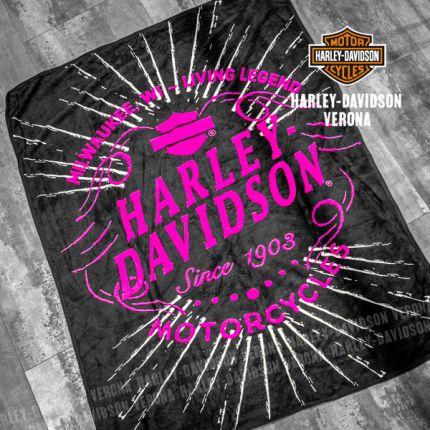 Coperta Harley-Davidson® Nera e Rosa Micro Raschel