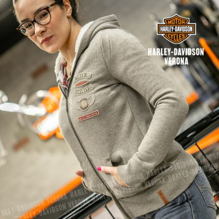 Felpa da Donna Harley-Davidson® C. SHERPA FLEECE LINED, Grigio