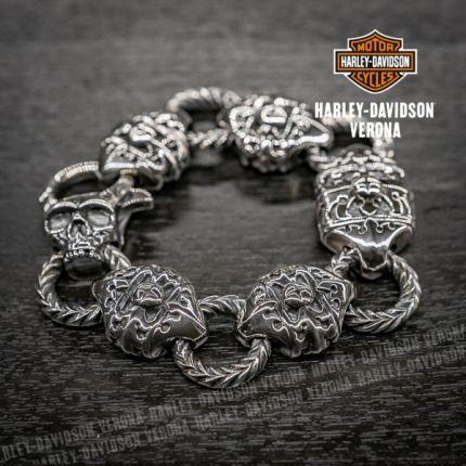 Bracciale articolato in argento Harley-Davidson® by Thierry Martino con motivo floreale