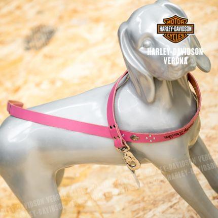 Guinzaglio in pelle Harley-Davidson® rosa con gioello