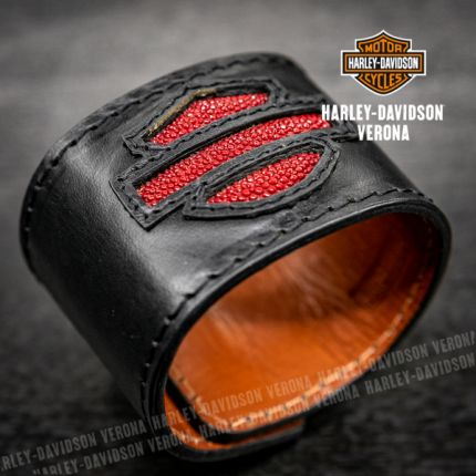 Bracciale in pelle e argento Harley-Davidson® by Thierry Martino