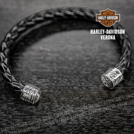 Bracciale in pelle intrecciata Satin Harley-Davidson® by Thierry Martino