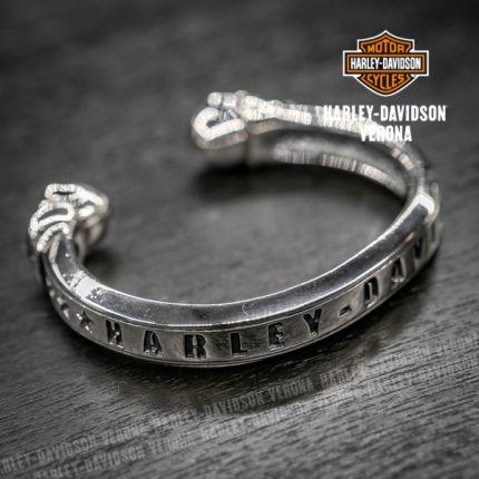 Bracciale in Argento Harley-Davidson® con Teschi e Scritta