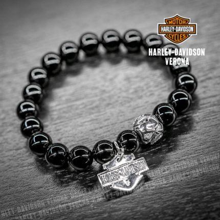 Bracciale Harley-Davidson® con pietre in Onice lucida e SKULL