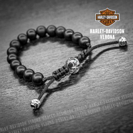 Bracciale Skull Harley-Davidson® e pietre onice opaca
