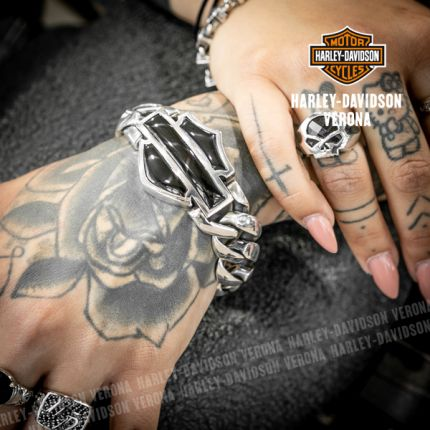 Bracciale Harley-Davidson® in Argento con Bar & Shield Logo in Onice