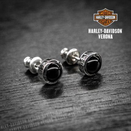 Orecchini Harley-Davidson® by Thierry Martino, Argento e Onice liscia
