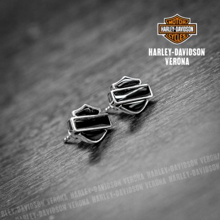 Orecchini Harley-Davidson® B&S, Argento e Onice