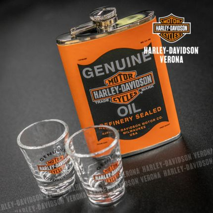 SET FIASCHETTA+BICCHIERINI HARLEY-DAVIDSON® GENUINE OIL CAN ORANGE