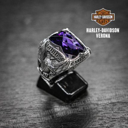 Anello Harley-Davidson® by Thierry Martino argento e ametista
