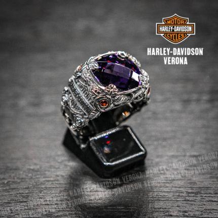 Anello Harley-Davidson® by Thierry Martino argento lavorato e pietra di ametista