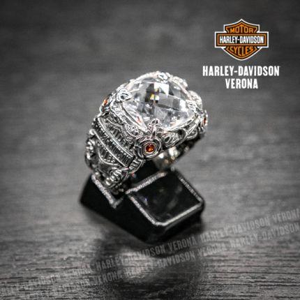 Anello Harley-Davidson® by Thierry Martino argento lavorato e pietra di zircone