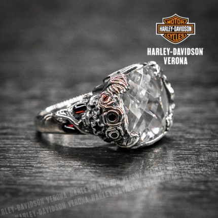 Anello cabocon Harley-Davidson® by Thierry Martino in argento con zirconi