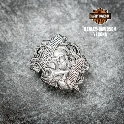 Pin Harley-Davidson® Grim, MD, Silver Finish 3D