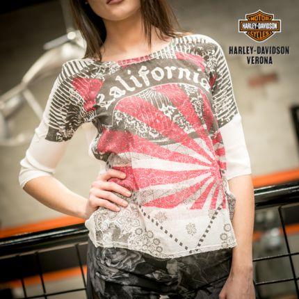T-Shirt Rude Riders® bianca con grafiche rosa