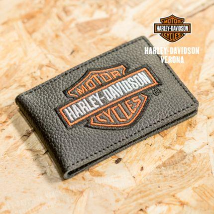 Porta carte di credito in pelle nera Harley-Davidson® con B&S® arancione